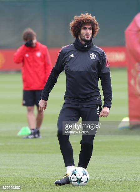 Marouane Fellaini of Manchester United in action during a first team training session at Aon Training Complex on November 21 2017 in Manchester...