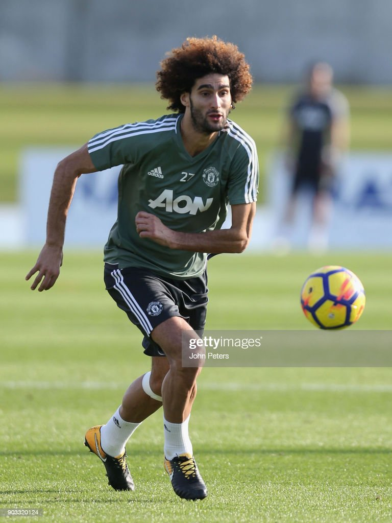 Marouane Fellaini of Manchester United in action during a first team training session at Nad Al Sheba Sports Complex on January 10, 2018 in Dubai, United Arab Emirates.