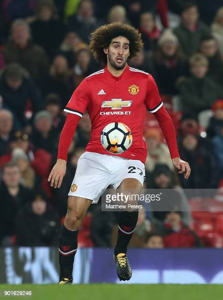 Marouane Fellaini of Manchester United in action during the Emirates FA Cup Third Round match between Manchester United and Derby County at Old...