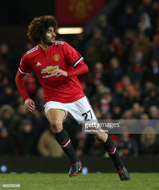 Marouane Fellaini of Manchester United in action during the Emirates FA Cup Quarter Final match between Manchester United and Brighton Hove Albion at...