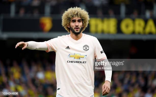 Marouane Fellaini of Manchester United in action during the Premier League match between Watford FC and Manchester United at Vicarage Road on...