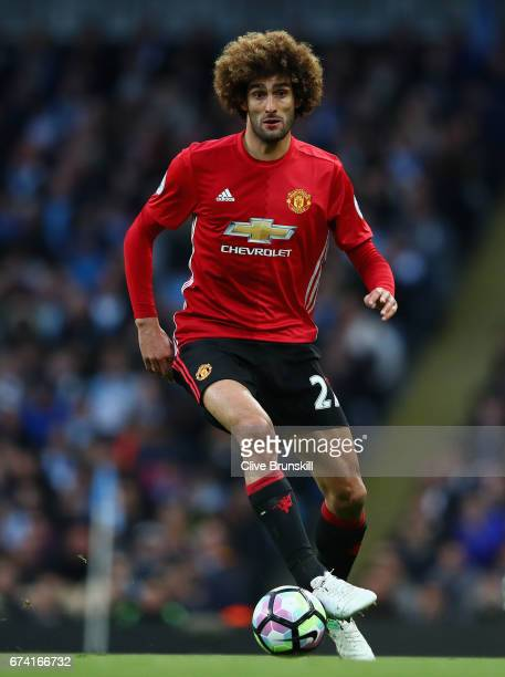 Marouane Fellaini of Manchester United in action during the Premier League match between Manchester City and Manchester United at Etihad Stadium on...
