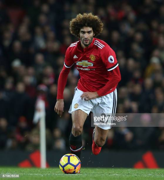 Marouane Fellaini of Manchester United in action during the Premier League match between Manchester United and Newcastle United at Old Trafford on...