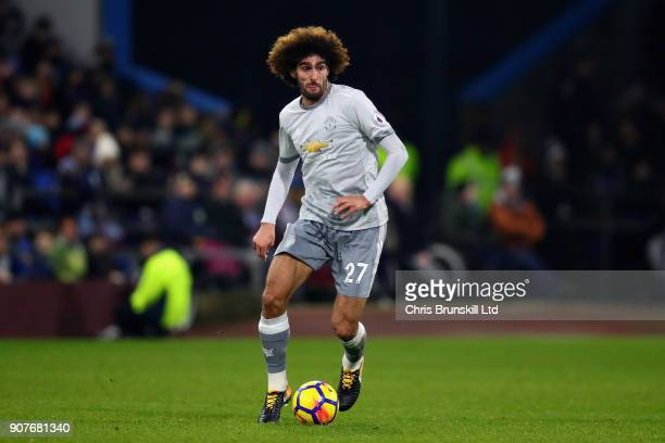 Marouane Fellaini of Manchester United in action during the Premier League match between Burnley and Manchester United at Turf Moor on January 20...