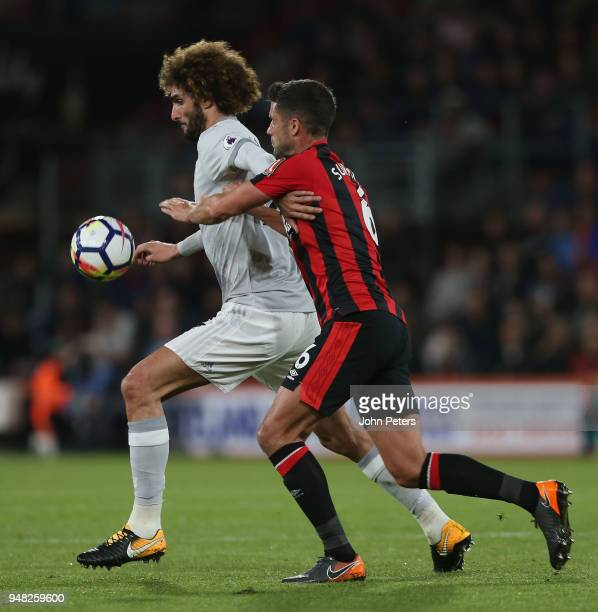 Marouane Fellaini of Manchester United in action with Andrew Surman of AFC Bournemouth during the Premier League match between AFC Bournemouth and...