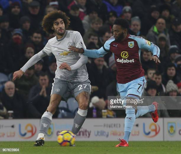 Marouane Fellaini of Manchester United in action with GeorgesKevin Nkoudou of Burnley during the Premier League match between Burnley and Manchester...
