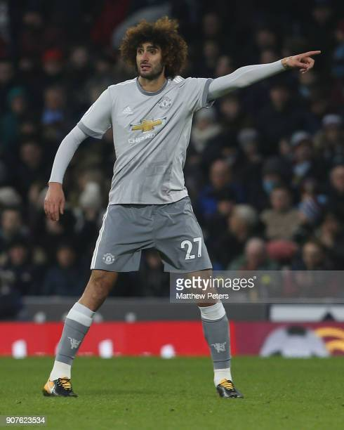 Marouane Fellaini of Manchester United in actionduring the Premier League match between Burnley and Manchester United at Turf Moor on January 20 2018...