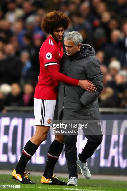 Marouane Fellaini of Manchester United is substituted after 7 minutes during the Premier League match between Tottenham Hotspur and Manchester United...