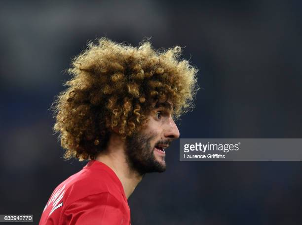 Marouane Fellaini of Manchester United looks on during the Premier League match between Leicester City and Manchester United at The King Power...