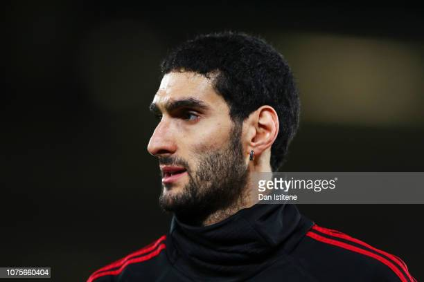 Marouane Fellaini of Manchester United looks on during the warm-up before the Premier League match between Southampton FC and Manchester United at St...