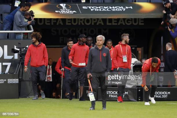 Marouane Fellaini of Manchester United Marcos Rojo of Manchester United Paul Pogba of Manchester United coach Jose Mourinho of Manchester United...