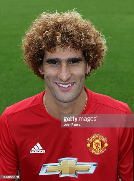 Marouane Fellaini of Manchester United poses for a portrait at the Manchester United Official Photocall on September 19 2016 in Manchester England