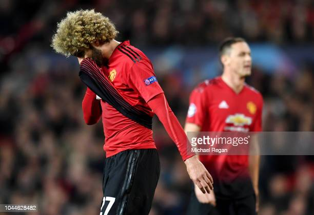 Marouane Fellaini of Manchester United reacts during the Group H match of the UEFA Champions League between Manchester United and Valencia at Old...
