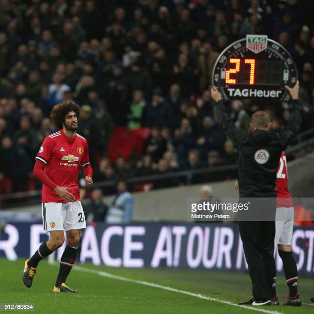 Marouane Fellaini of Manchester United reacts to being substituted during the Premier League match between Tottenham Hotspur and Manchester United at...