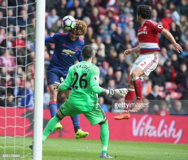 Marouane Fellaini of Manchester United score their first goal during the Premier League match between Middlesbrough and Manchester United at...