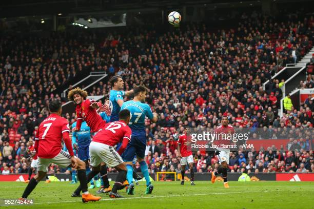 Marouane Fellaini of Manchester United scores a goal to make it 21 during the Premier League match between Manchester United and Arsenal at Old...