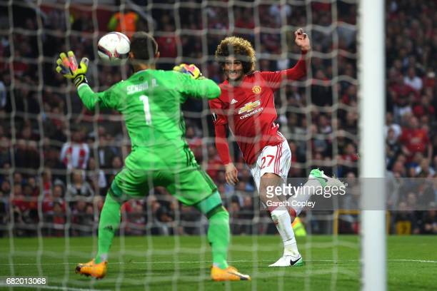 Marouane Fellaini of Manchester United scores his sides first goal during the UEFA Europa League, semi final second leg match, between Manchester...