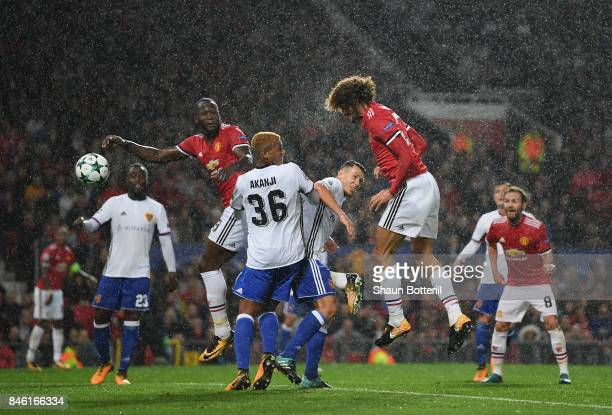 Marouane Fellaini of Manchester United scores his sides first goal during the UEFA Champions League group A match between Manchester United and FC...
