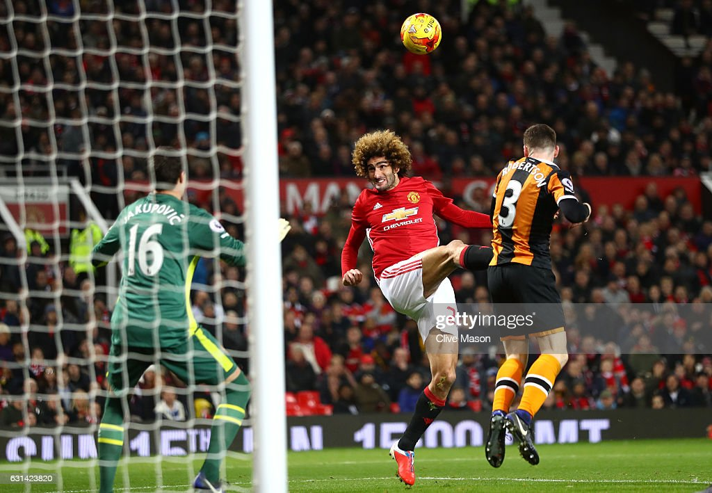 Marouane Fellaini of Manchester United scores his sides second goal during the EFL Cup Semi-Final First Leg match between Manchester United and Hull City at Old Trafford on January 10, 2017 in Manchester, England.