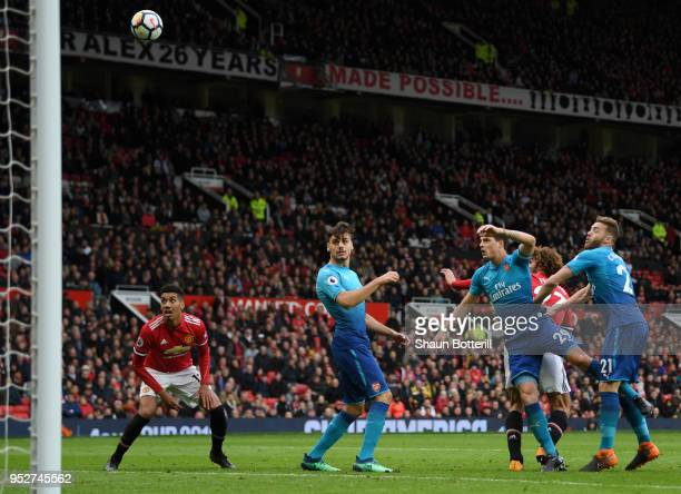 Marouane Fellaini of Manchester United scores his sides second goal during the Premier League match between Manchester United and Arsenal at Old...