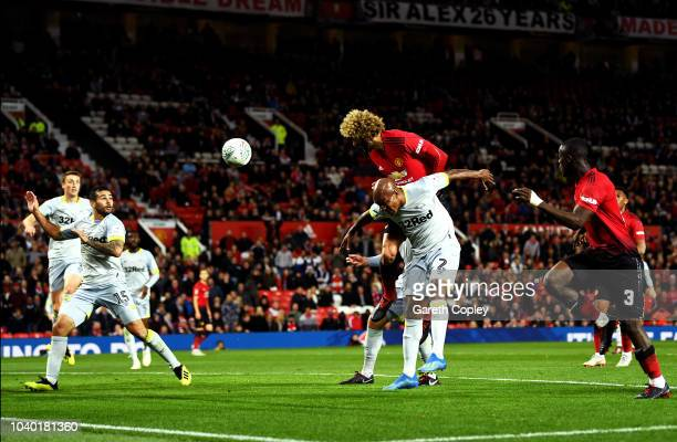Marouane Fellaini of Manchester United scores his team's second goal during the Carabao Cup Third Round match between Manchester United and Derby...