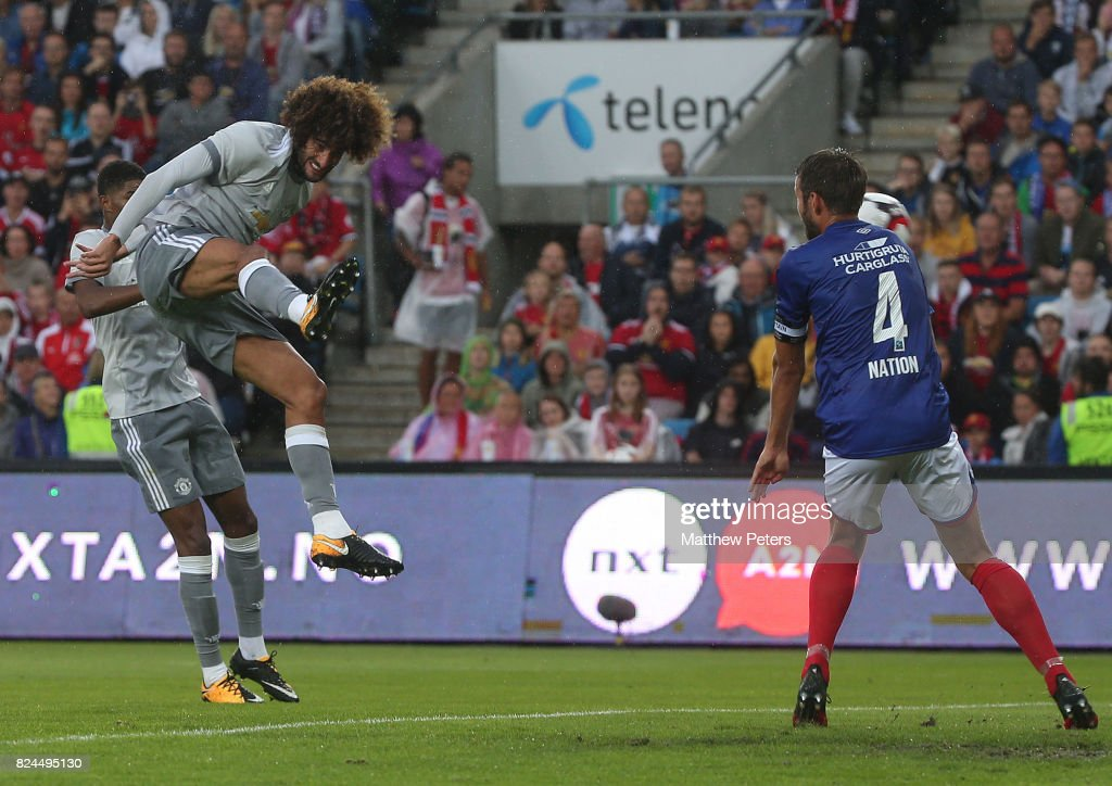 Marouane Fellaini of Manchester United scores the first goal during the pre-season friendly match between Valerenga and Manchester United at Ullevaal Stadion on July 30, 2017 in Oslo, Norway.
