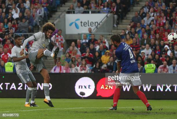 Marouane Fellaini of Manchester United scores the first goal during the preseason friendly match between Valerenga and Manchester United at Ullevaal...