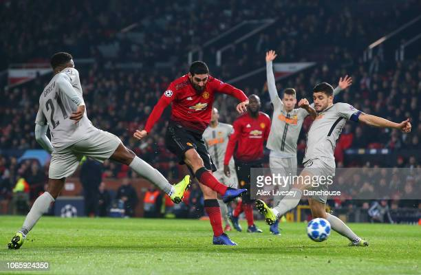 Marouane Fellaini of Manchester United scores the opening goal during the Group H match of the UEFA Champions League between Manchester United and...
