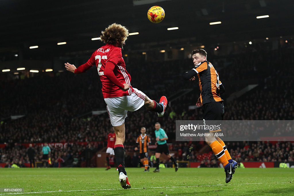 Marouane Fellaini of Manchester United scores the second goal to make the score 2-0 during the EFL Cup Semi-Final first leg match between Manchester United and Hull City at Old Trafford on January 10, 2017 in Manchester, England.