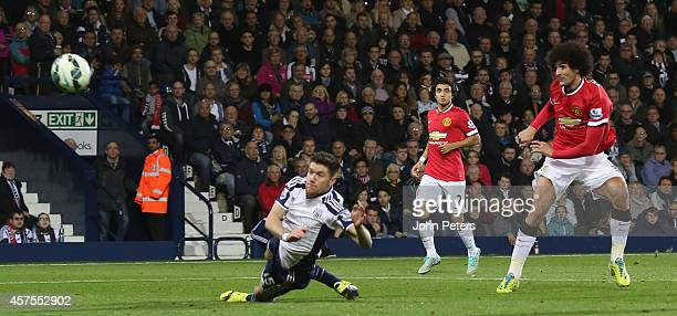Marouane Fellaini of Manchester United scores their first goal during the Barclays Premier League match between West Bromwich Albion and Manchester...