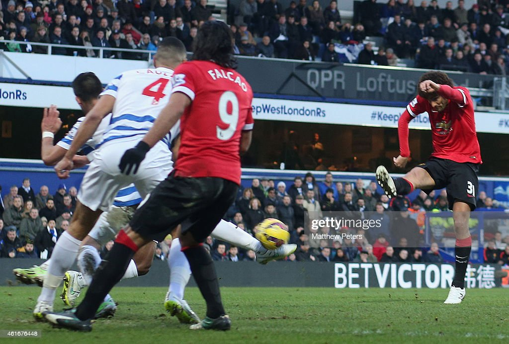 Marouane Fellaini of Manchester United scores their first goal during the Barclays Premier League match between Queens Park Rangers and Manchester United at Loftus Road on January 17, 2015 in London, England.
