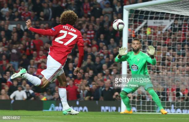 Marouane Fellaini of Manchester United scores their first goal during the UEFA Europa League semi final second leg match between Manchester United...