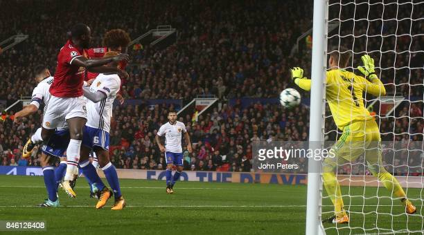 Marouane Fellaini of Manchester United scores their first goal during the UEFA Champions League group A match between Manchester United and FC Basel...