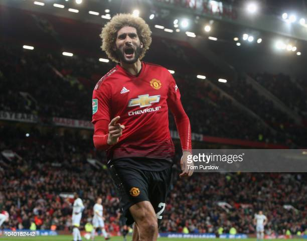 Marouane Fellaini of Manchester United scores their second goal during the Carabao Cup Third Round match between Manchester United and Derby County...