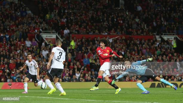 Marouane Fellaini of Manchester United scores their second goal during the Pre Season Friendly match between Manchester United and Valencia at Old...