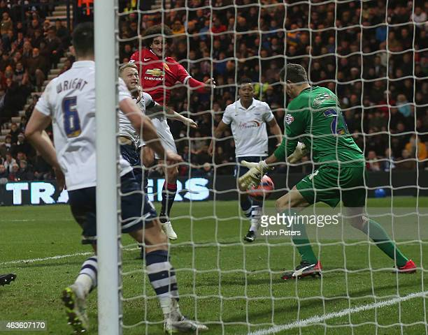 Marouane Fellaini of Manchester United scores their second goal during the FA Cup Fifth Round match between Preston North End and Manchester United...