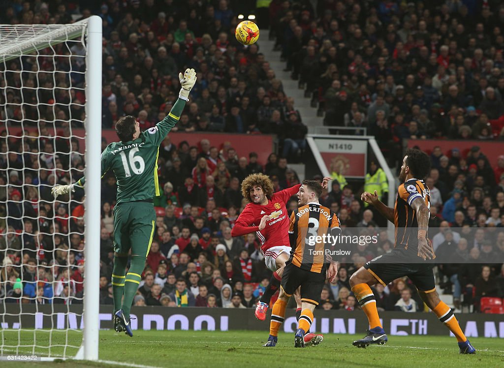 Marouane Fellaini of Manchester United scores their second goal during the EFL Cup Semi-FInal first leg match between Manchester United and Hull City at Old Trafford on January 10, 2017 in Manchester, England.