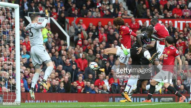 Marouane Fellaini of Manchester United scores their second goal during the Premier League match between Manchester United and Crystal Palace at Old...