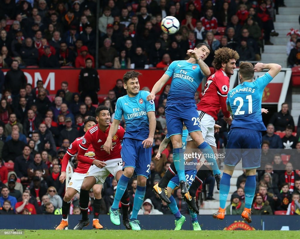 Marouane Fellaini of Manchester United scores their second goal during the Premier League match between Manchester United and Arsenal at Old Trafford on April 29, 2018 in Manchester, England.