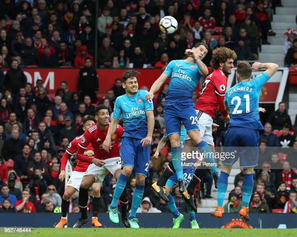 Marouane Fellaini of Manchester United scores their second goal during the Premier League match between Manchester United and Arsenal at Old Trafford...