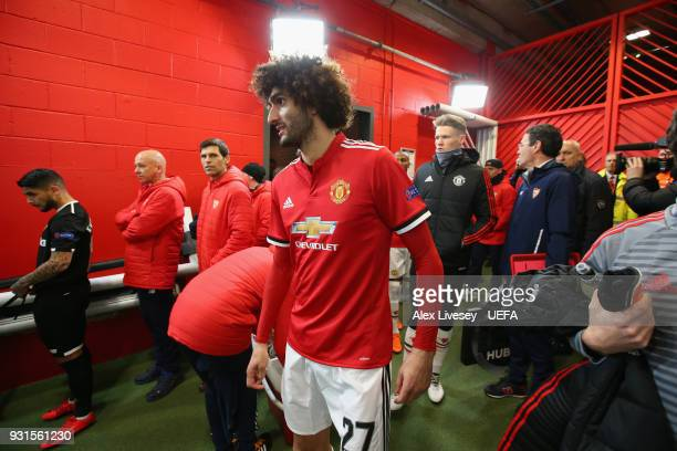 Marouane Fellaini of Manchester United waits in the tunnel prior to the UEFA Champions League Round of 16 Second Leg match between Manchester United...
