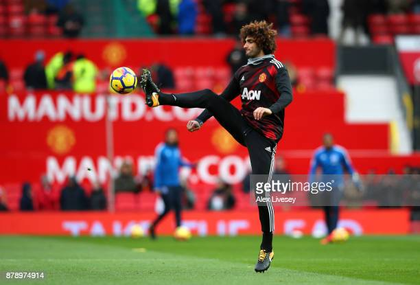 Marouane Fellaini of Manchester United warms up prior to the Premier League match between Manchester United and Brighton and Hove Albion at Old...