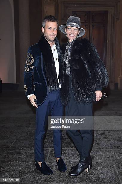 Marpessa and Guilherme Siqueira attend Vogue Cocktail Party honoring photographer Mario Testino on February 27 2016 in Milan Italy