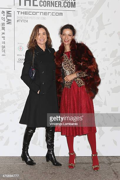 Marpessa Hennink and guest attends the The Vogue Talents Corner fashion show during Milan Fashion Week Womenswear Autumn/Winter 2014 on February 19...