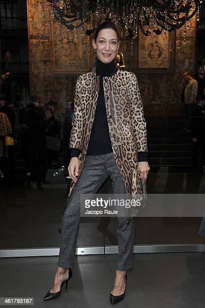 Marpessa Hennink arrives at Dolce Gabbana Fashion Show during Milan Fashion Week Menswear Autumn/Winter 2014 on January 11 2014 in Milan Italy