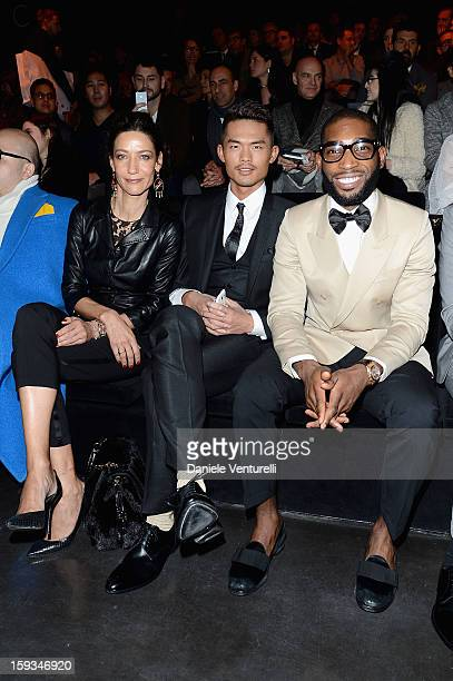 Marpessa Hennink Lin Dan and Tinie Tempah attend the Dolce Gabbana show as part of Milan Fashion Week Menswear Autumn/Winter 2013 on January 12 2013...