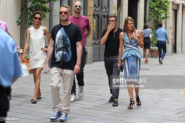Marpessa Hennink Stefano Gabbana and Anna Dello Russo are seen in Milan during Milan Fashion Week Menswear Spring/Summer 2013 on June 24 2012 in...