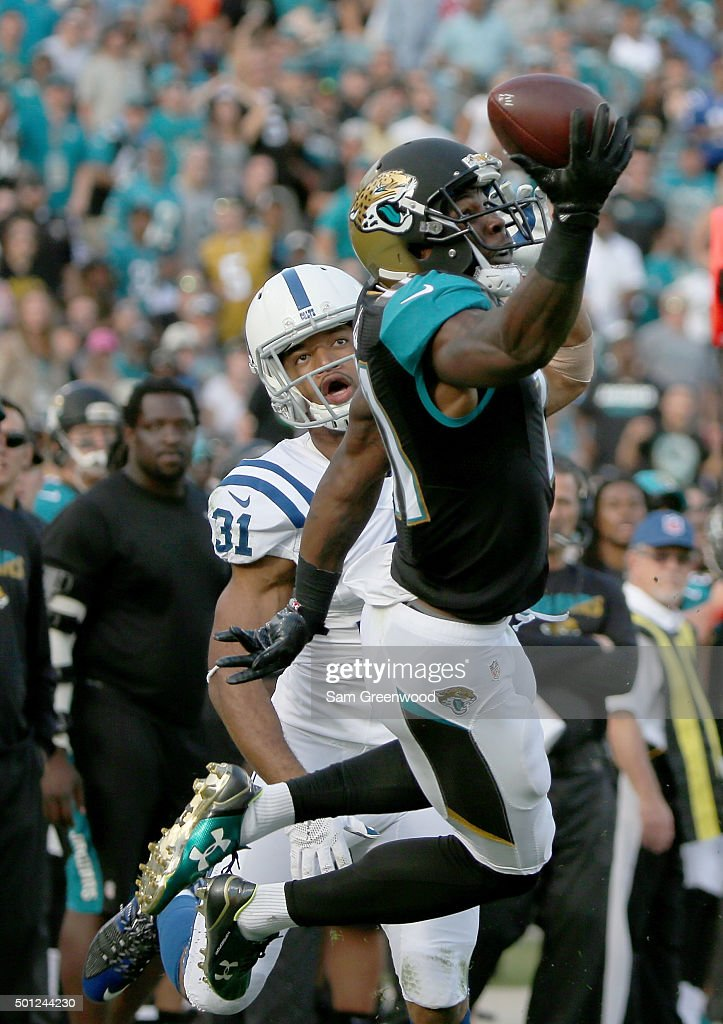 Marqise Lee #11 of the Jacksonville Jaguars attempts to make a reception against Jalil Brown #31 of the Indianapolis Colts during the game at EverBank Field on December 13, 2015 in Jacksonville, Florida.