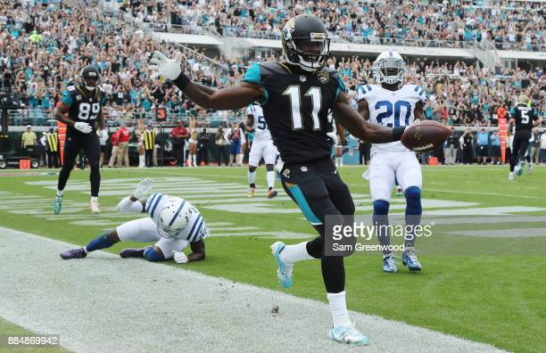 Marqise Lee of the Jacksonville Jaguars celebrates after a 4-yard touchdown in the first half of their game against the Indianapolis Colts at...