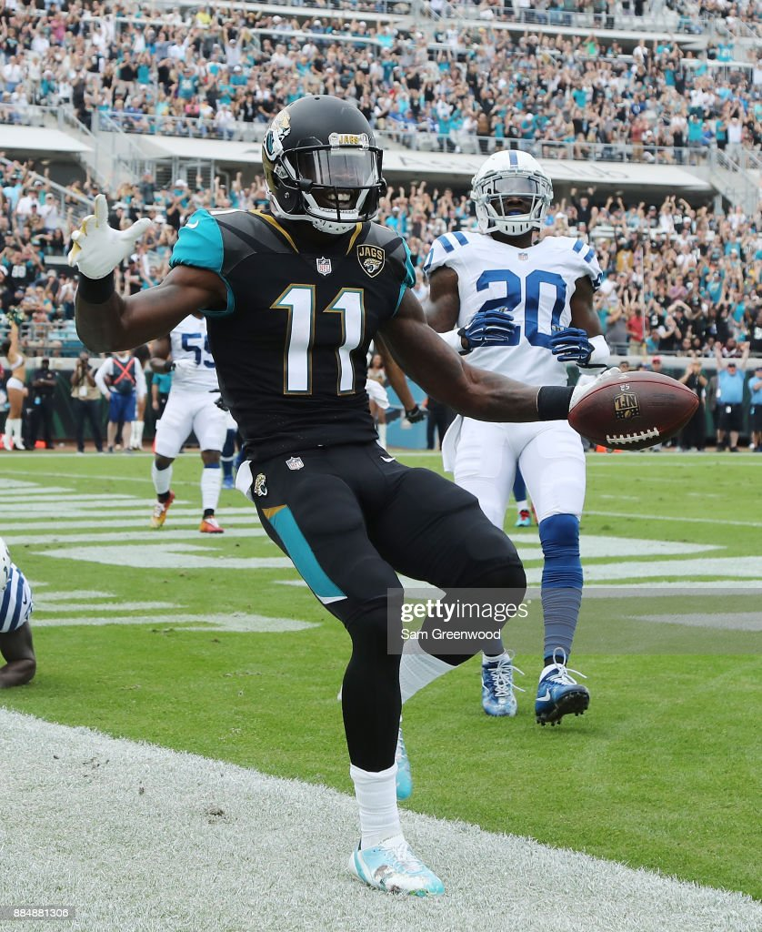 Marqise Lee #11 of the Jacksonville Jaguars celebrates after a 4-yard touchdown in the first half of their game against the Indianapolis Colts at EverBank Field on December 3, 2017 in Jacksonville, Florida.